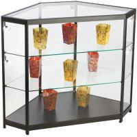 Quality 4ft Mobile Phone Display Cabinet , Black Glass Corner Display Cabinet With Lock for sale