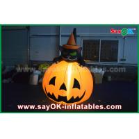 Quality Durable Halloween Inflatable Holiday Decorations Pumpkin Cat With Led Lighting for sale