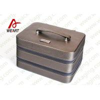 Quality Silver / Grey Surface Personalised Makeup Box Cosmetic Storage Case OEM for sale
