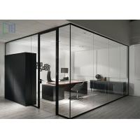Quality Aluminium Clear / Frosted Glass Office Partitions Interior Soundproof for sale