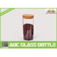 Quality High quality borosilicate glass jar with wooden lid for sale