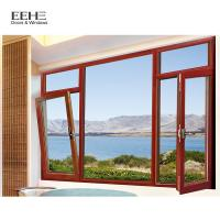 Quality Wooden Color Aluminum Window And Door Awnings With Mosquito Net Horizontal for sale