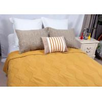 Quality Cotton Plain Dyed Yellow Quilted Bedspread , Embroidered Hotel Collection Coverlet for sale