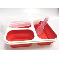 Buy Food Safety Folding Silicone Lunch Containers Three Chamber Microwaveable at wholesale prices
