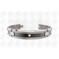 Quality Ti2 Titanium Jewelry Magnetic Titanium Bracelets With Black Accent And Clear Crystal for sale