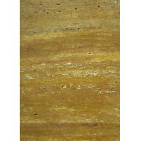 Gold Travertine Yellow Gloss Marble Floor Tiles Polished CE Certification for sale