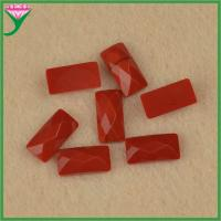 low prices bulk rectangle loose faceted cut flat glass red coral gemstone for sale