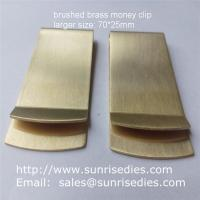 Satin brushed brass Money Clip with good tension, large sized brass money clip wallets for sale