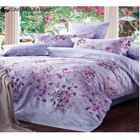 Quality Cotton Fabric Quilt Cover Bedding Sets Purple Floral Design Flat Sheet King for sale
