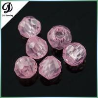 wholesale top quality pink color facet ball shape faceted cubic zirconia gemstone beads with perfect cutting for sale
