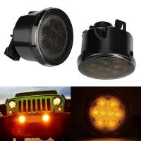 Quality Firebug Amber LED Turn Signal Light Smoke Lens Front Grill for Jeep Wrangler JK for sale
