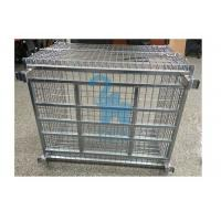 Buy Portable Wire Mesh Storage Cages Steel Storage Bins For Domestic Transporting at wholesale prices