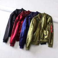 Quality Blank Ruffle Satin Ma1 Bomber Jacket With Pocket OEM Service Available for sale