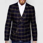 Quality Slim Fit Notch Lapels Mens Flight Jacket Check Wool Coat Latest Blazer Design for sale