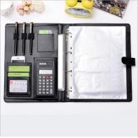 Quality Office Supplies  PU Leather Ring Binder Meeting File Folder ,4 ring binder big A4 file folder with Calculator for sale
