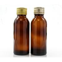 Quality 100ml Amber Glass Oral Liquid Bottle With Colors Metal Cap,Syrups Bottle for sale