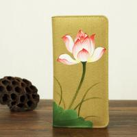 Quality Retro Travel Khaki Leather Clutch Wallet Canvas With Hand Painted Flower for sale