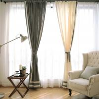 Quality 100% Linen Cotton Window Curtains , Country Style Grey And White Curtains for sale