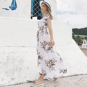 100% Polyester Casual White Beach Dresses Chiffon Fabric Type