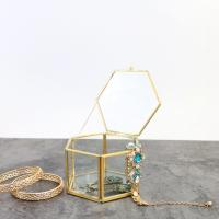China Hexagonal Gold Glass Jewellery Storage Box Clear Glass Wedding Flower Box for sale