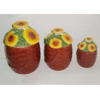 China Dolomite Ceramic Kitchen Canisters Hand Painted Basket Sunflower Covered Canister 3 Set on sale