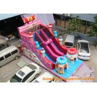 Quality Pink Commercial Inflatable Slide Combo Fun Games With Logo Pringting for sale