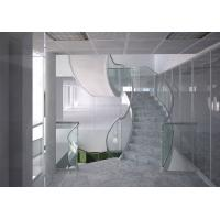 Quality Marble steps stainless steel curved staircase indoor design for sale
