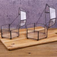 China Black Frame Hexagon Wholesale Small Glass Jewellery Box Tabletop Display Case for sale
