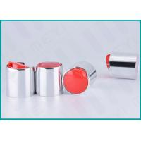 Quality 24mm Aluminum Disc Top Cap Glossy Silver For Body Wash Gel / Hand Washing Soap for sale
