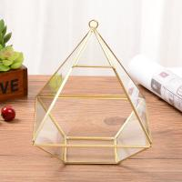 Golden Fat Diamond-Shaped Geometric Glass Terrarium Small Size for Decoration for sale