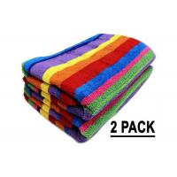 Quality Promotion Cotton Beach Towels Colorful Stripe Pattern With Soft Hand Feeling for sale