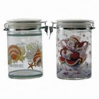 China Glass Sealed Canister with Ceramic Lid on sale