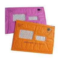 Quality Pink Kraft paper  bubble mailers size #5 10.5x16 with window ideal for address label for sale