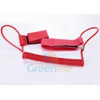 Quality 1.5M Long Quality Red Plastic Spring Coil Fishing Lanyard With  Strap 2pcs for sale