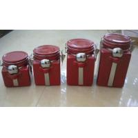 Quality Red Personalized Ceramic Cookie Jar With Metal Clip And Spoon 10 X 10 X 20 Cm for sale