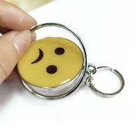 Quality Smiling Face Custom Logo Keychains Yellow Circle With Eco-friendly Metal for sale