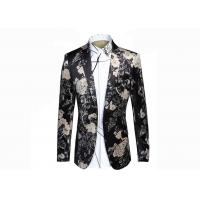 Quality Autumn / Winter Mens Floral Print Blazer Notch Lapel Back Vent 100% Polyester for sale