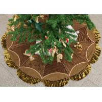 Quality Customized Modern Christmas Tree Skirt , Polyester / Velvet Christmas Tree Skirts for sale
