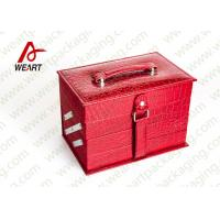 Quality Personalized Red Cosmetic Paper Box Drawer Style With Crocodile Leather / Black NWPP for sale