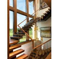 Quality Wooden staircase straight stair with laminated glass railing modern design for sale