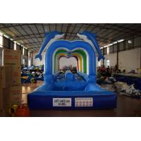 Quality Durable Commercial Inflatable Water Slides , Cute Dolphins Cartoon Long Water Slip N Slide for sale