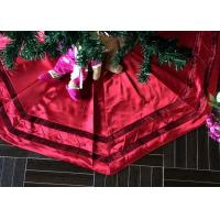 Quality Red Patchwork Christmas Tree Skirt Polyester / Velvet Material For Decorative for sale