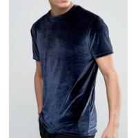 Quality Soft Touch Blank Mens Velour T Shirt / Anti Pilling Oversized Blue T Shirt for sale