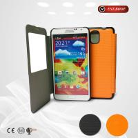 China Customized Orange Samsung Galaxy Phone Cases Pu Leather Phone Cover on sale