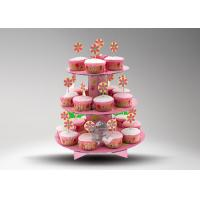 Quality 3 Tier Cardboard Cup Cake Stand / Colorful Cake Stand Promotional For Cake Chain Store for sale