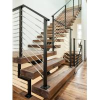 Quality Carbon steel center stringer L-shape solid wood staircase with glass railing for sale