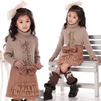Quality Bow Lace Blocked Woolen Girls Winter Skirts , Comfy Elastic Waist A Line Skirt for sale