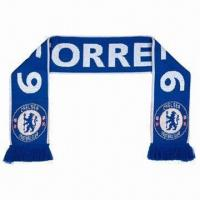Quality Football Scarf, Made of 100% Acrylic, Jacquard Style, Measuring 140 x 20cm for sale