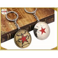Quality Brass Brushed Custom Made Metal Engraved Name Keychains Five Pointed Star Design for sale