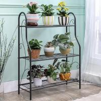Quality H257 Flower Pot Metal Display Shelf Sturdy Metal Construction Black Paint Plated for sale